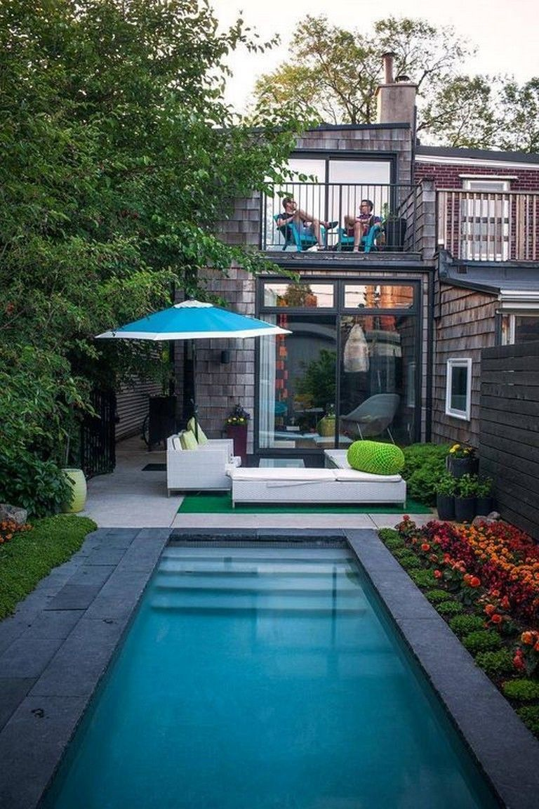 36 Beautiful Mini Pool Garden Designs For Tiny House Pool Pooldesigns Poollandscaping Small Pool Design Small Backyard Design Backyard Pool Designs