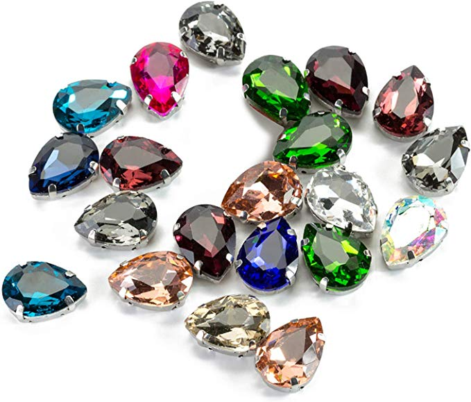 Sew On Stones for Garment Jewelry 50pcs Teardrop Glass Rhinestones with Claws,50pcs Light Rose with Silver Base  Sew On Rhinestone Beads