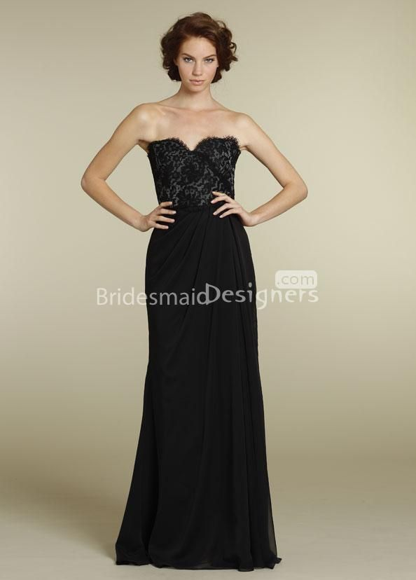 Long strapless black lace dress
