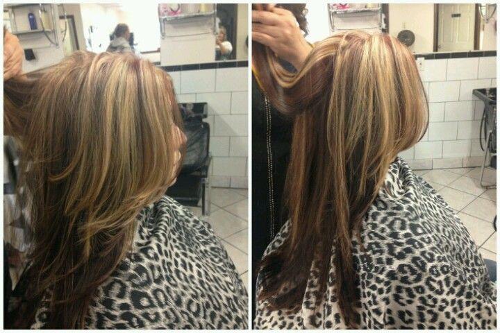 My Hair Auburn Red With Blonde Highlights Dark