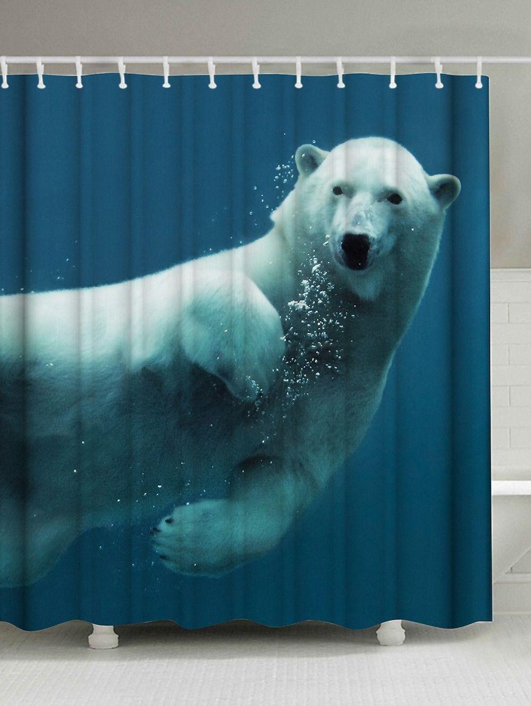 Polar Bear Printing Water Repellent Shower Curtain