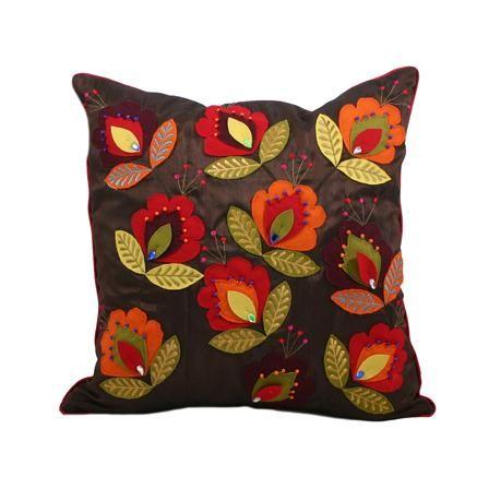 Paoletti Jaipur Cushion 45 X 45cm Brown Ricamo