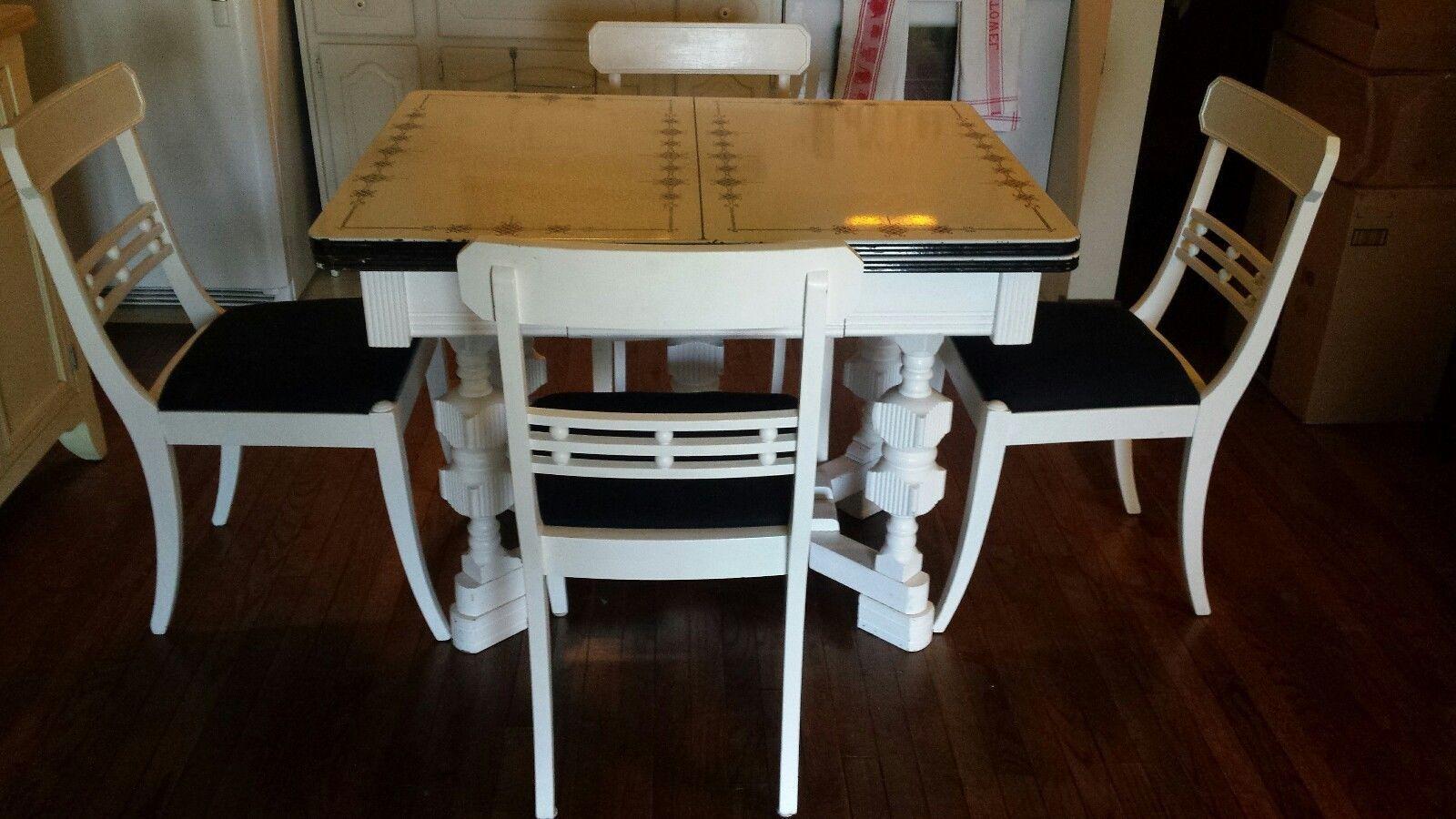 Beautiful Black U0026 White Enamel Top Table W/ Four Chairs 1930s   40s | EBay