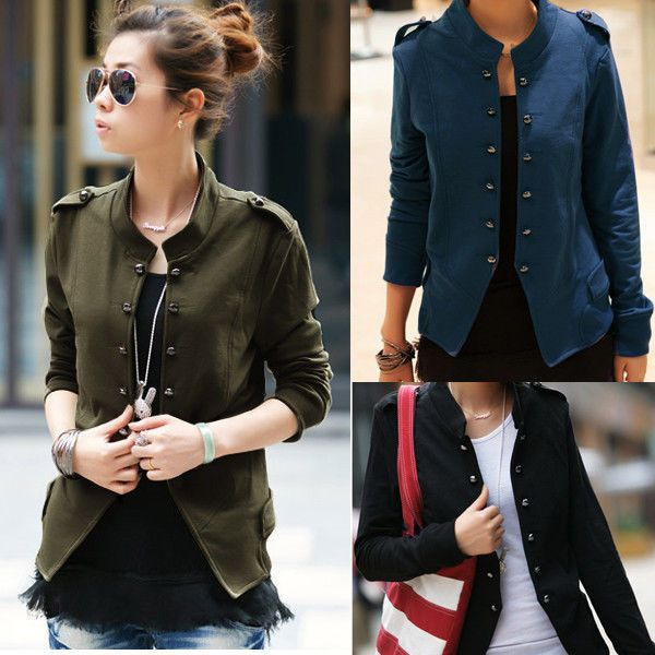 Lady Military Long Sleeve Collar Epaulet Double Breasted Short Coat Jacket New #Zanzea #BasicJacket