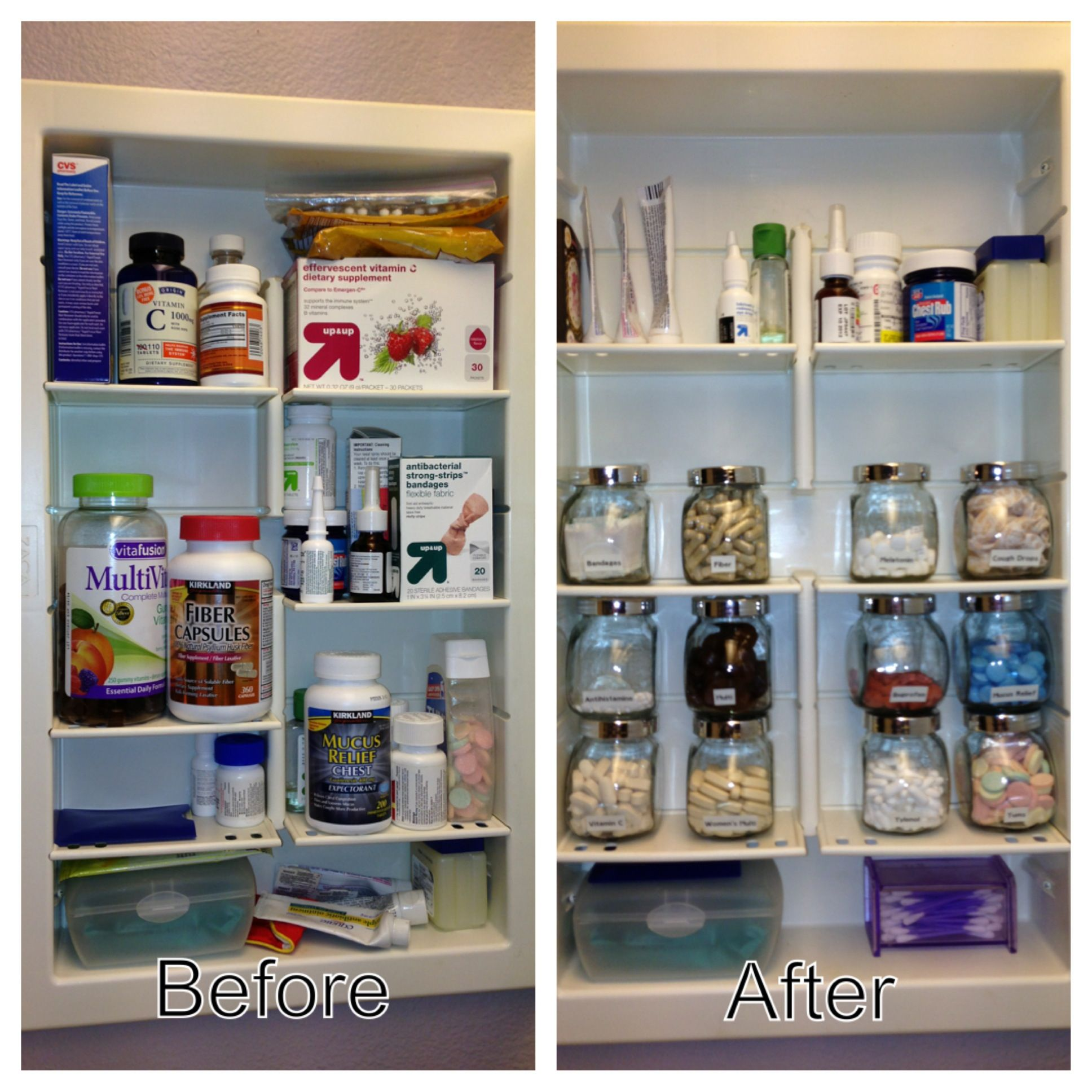 An Organized Medicine Cabinet With Ikea Spice Jars I Did This In