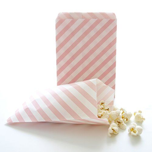 Pink Goodie Bags Bulk Gift Baby Girl Birthday Party Favors Striped Treat Bag