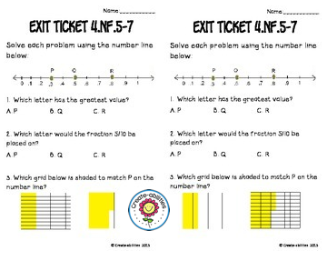 Fractions And Decimals Math Tasks And Exit Tickets Printable Download Math Tasks Math Decimals Fractions