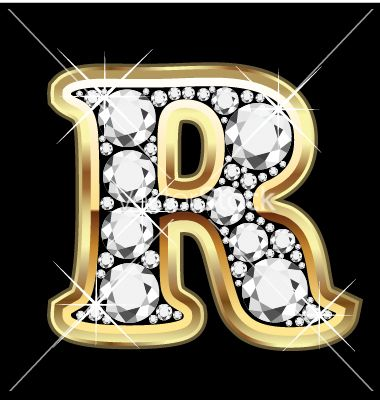 R Letter In Black Diamonds Letter r gold and diam...
