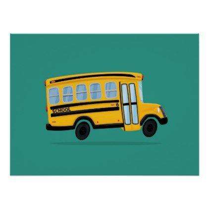 Cute School Bus Art Poster Zazzle Com School Bus Drawing