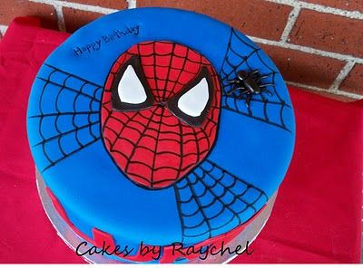 1 Tier Spiderman Cake Red Blue With Spider Webs Sweet Friday