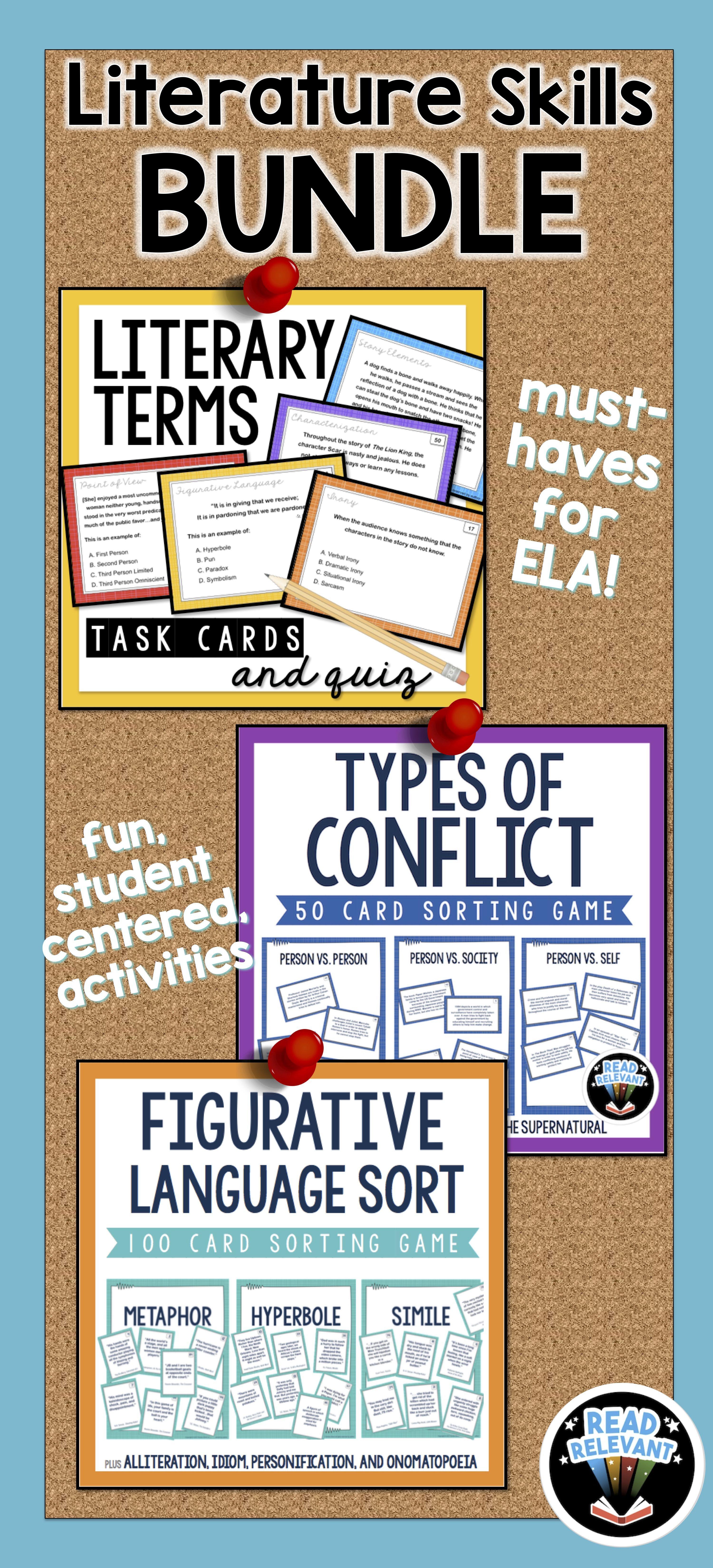 Literature Skills Bundle Figurative Language Conflict