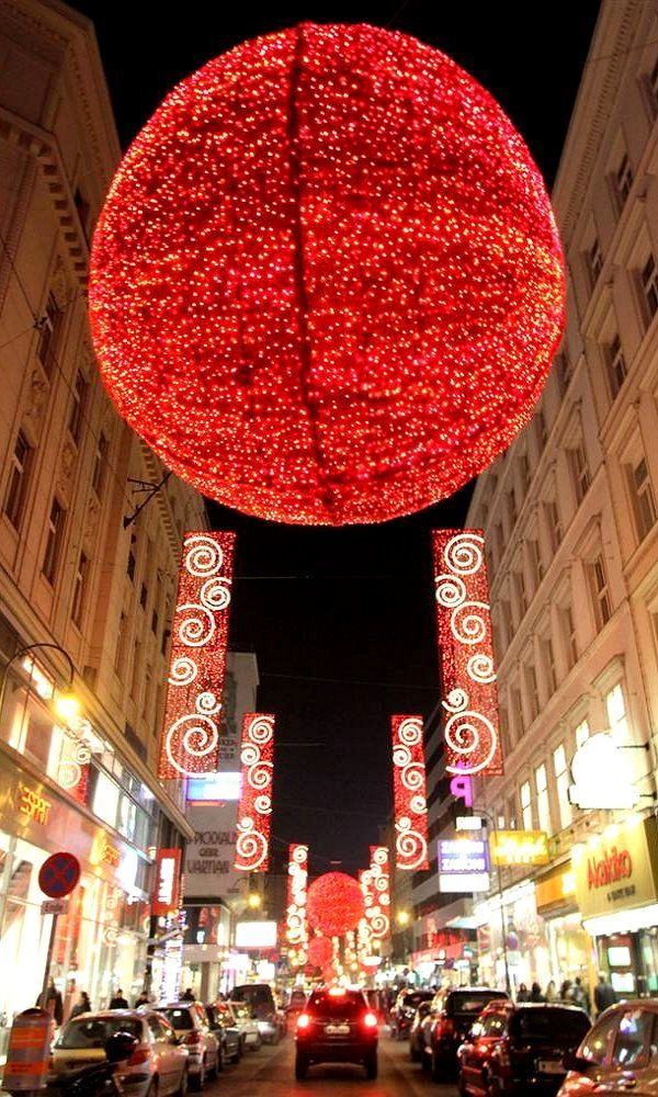 Lovely Christmas Decorations Glow In The Old Town Of Vienna, Austria