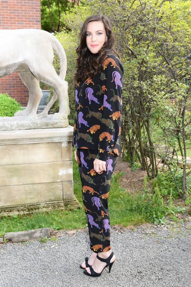 Liv Tyler at the Stella McCartney Spring 2016 Presentation in New York, wearing a Stella McCartney silk Wild Cat print blouse and trousers from the Autumn 2015 Collection Photo courtesy of BFA.