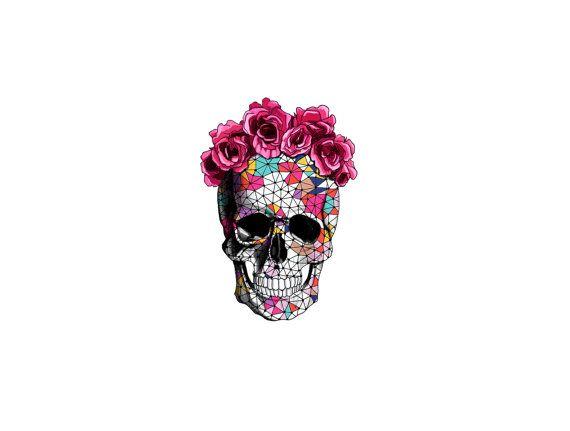 Geometria De Azucar Calavera Con Rosa Flores Corona Por Pepperink