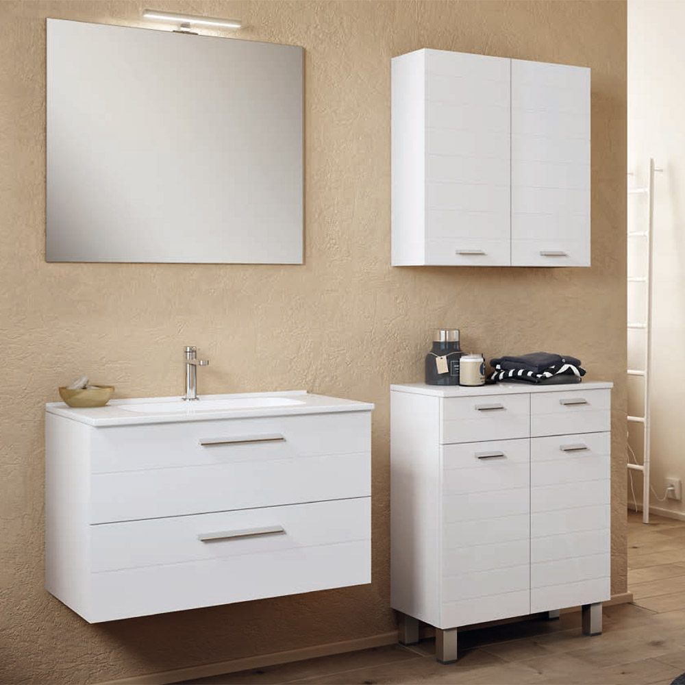 Mobile Bagno Moderno Sospeso 100 Cm Con Specchio E Lampada Rigo3