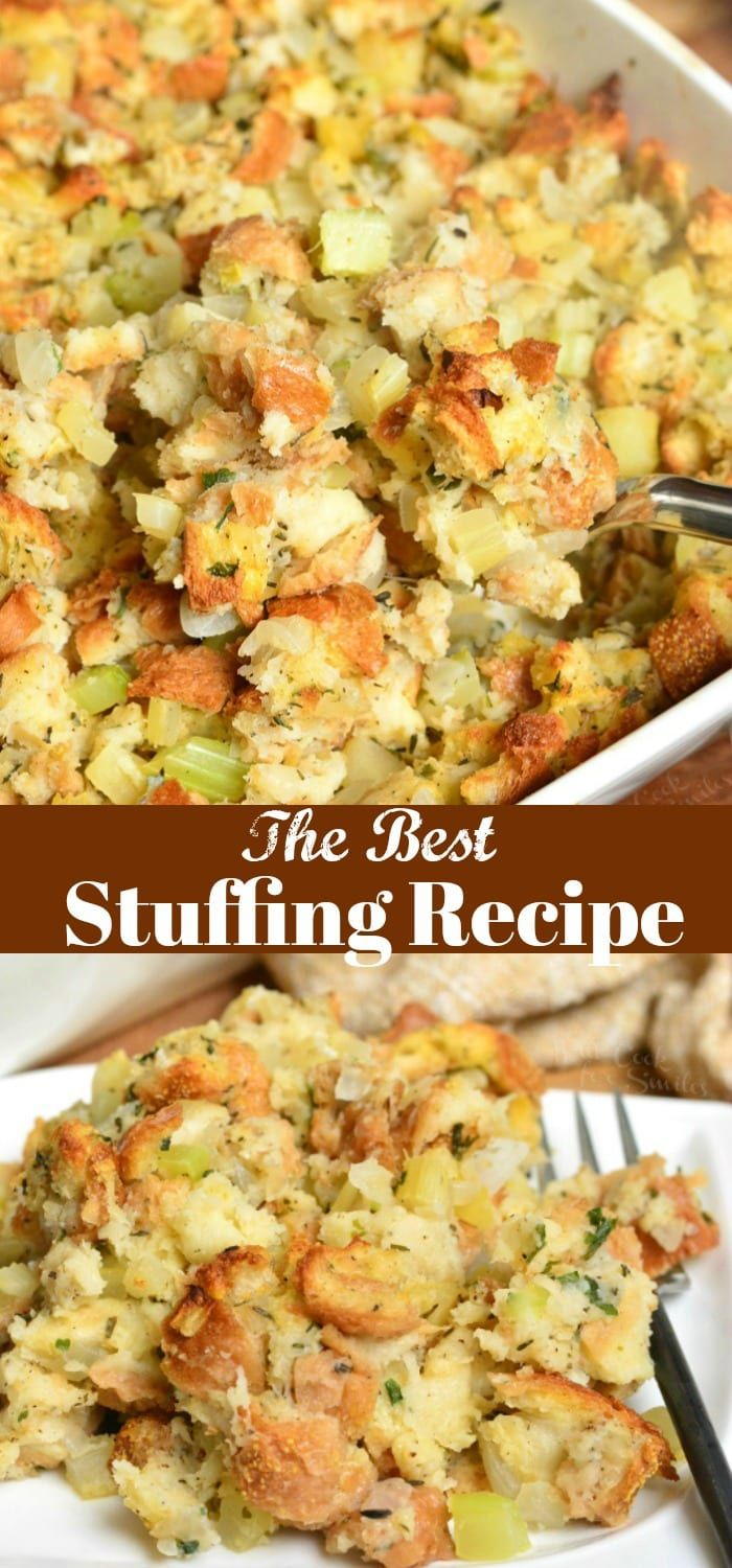 Stuffing Recipe. This stuffing is made with Italian bread, apples, celery, onions, and herbs.#sidedish