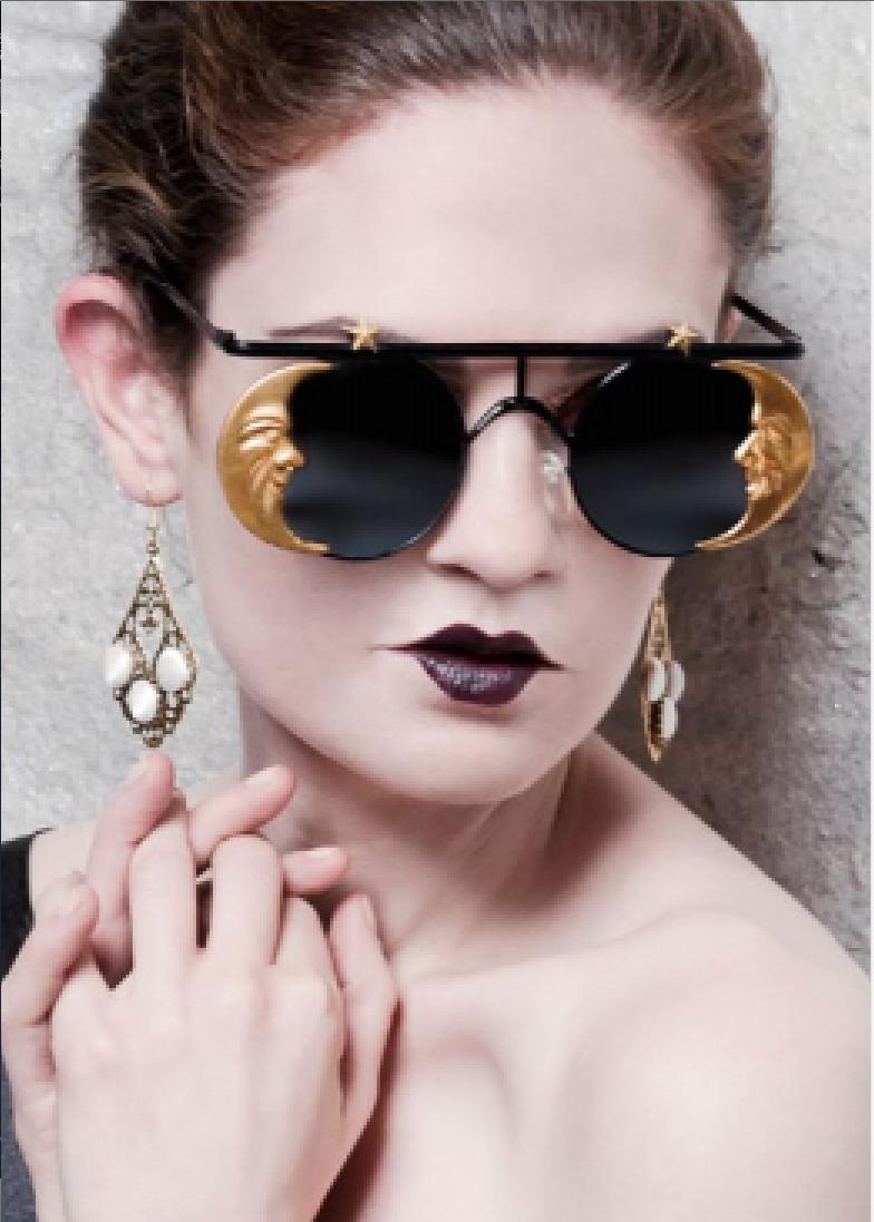 En Vie Magazine features Mercura Golden Girl Moon Sunglasses February 2014 style by Sophia Bonny