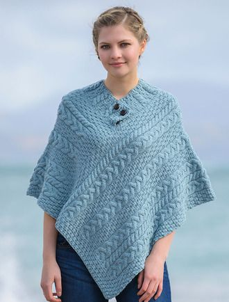 Cable Poncho with Aran Button Detail - Misty Marl | Ponchos bonitos ...
