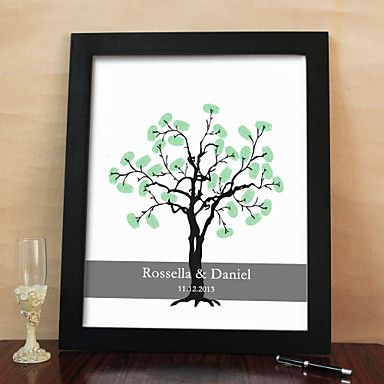 Personalized Fingerprint Painting Canvas Prints - Black Tree (Includes 6 Ink Colors And Frame) - JPY ¥ 5,692