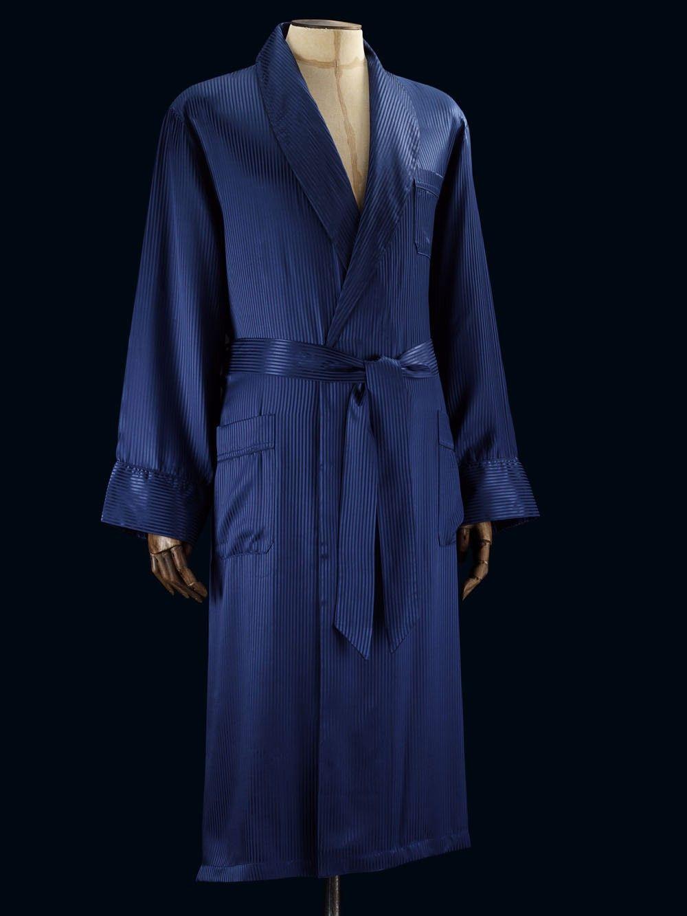 Woburn 8 Navy Dressing Gown   Derek Rose - The World\'s Finest Luxury ...