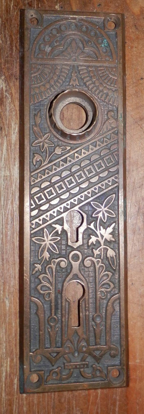 Eastlake style door knob plate double key hole front door cast