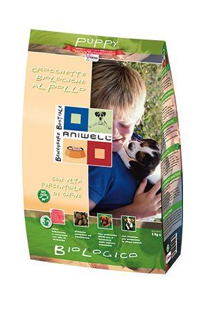 Crocchette Biologiche Pollo Cucciolo - Aniwell. Gustose crocchette al Pollo Biologico, con mais, frumento, piselli e orzo ideali per cani in crescita.