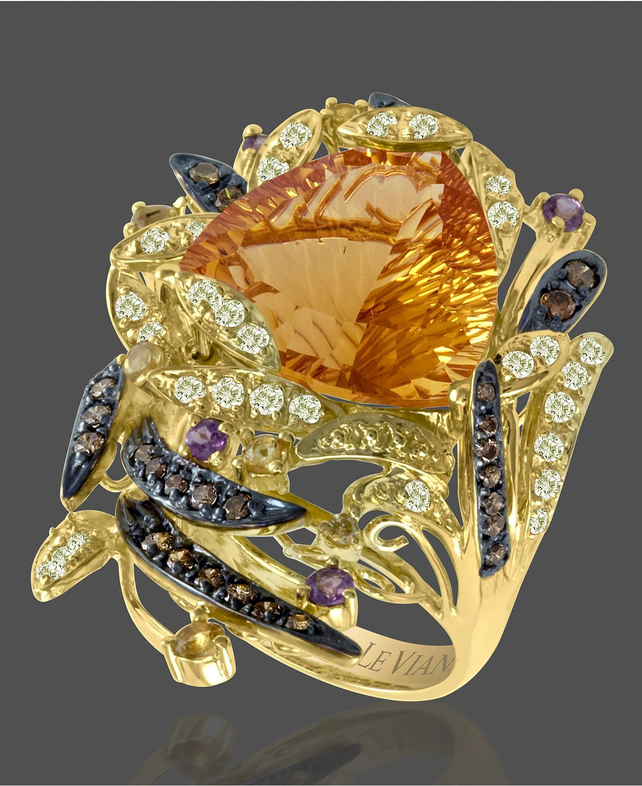 Rosamaria G Frangini | My Colorful Jewellery | TJS | Le Vian 14k Gold Ring, Citrine, White Topaz , Chocolate Diamond and Garnet - unique jewelry