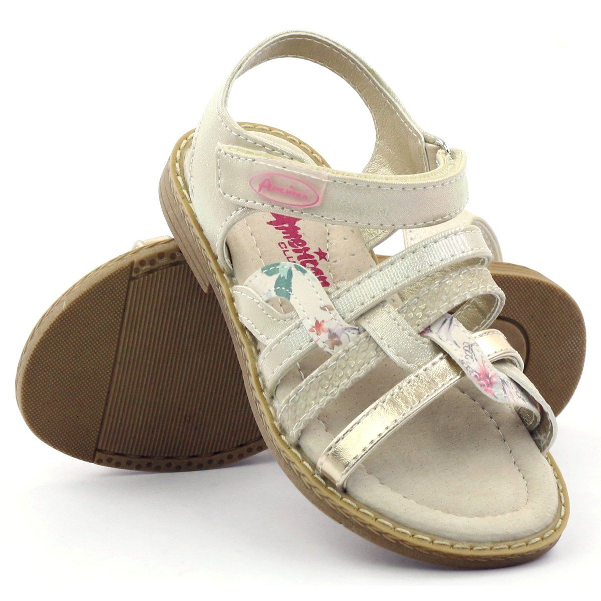 4a778b0e #Sandałki dziecięce #Dla dzieci #AmericanClub #Różowe #Żółte #Zielone  #Brązowe #Sandałki #Dziewczęce #Rzepy #American #15079 #American #Club