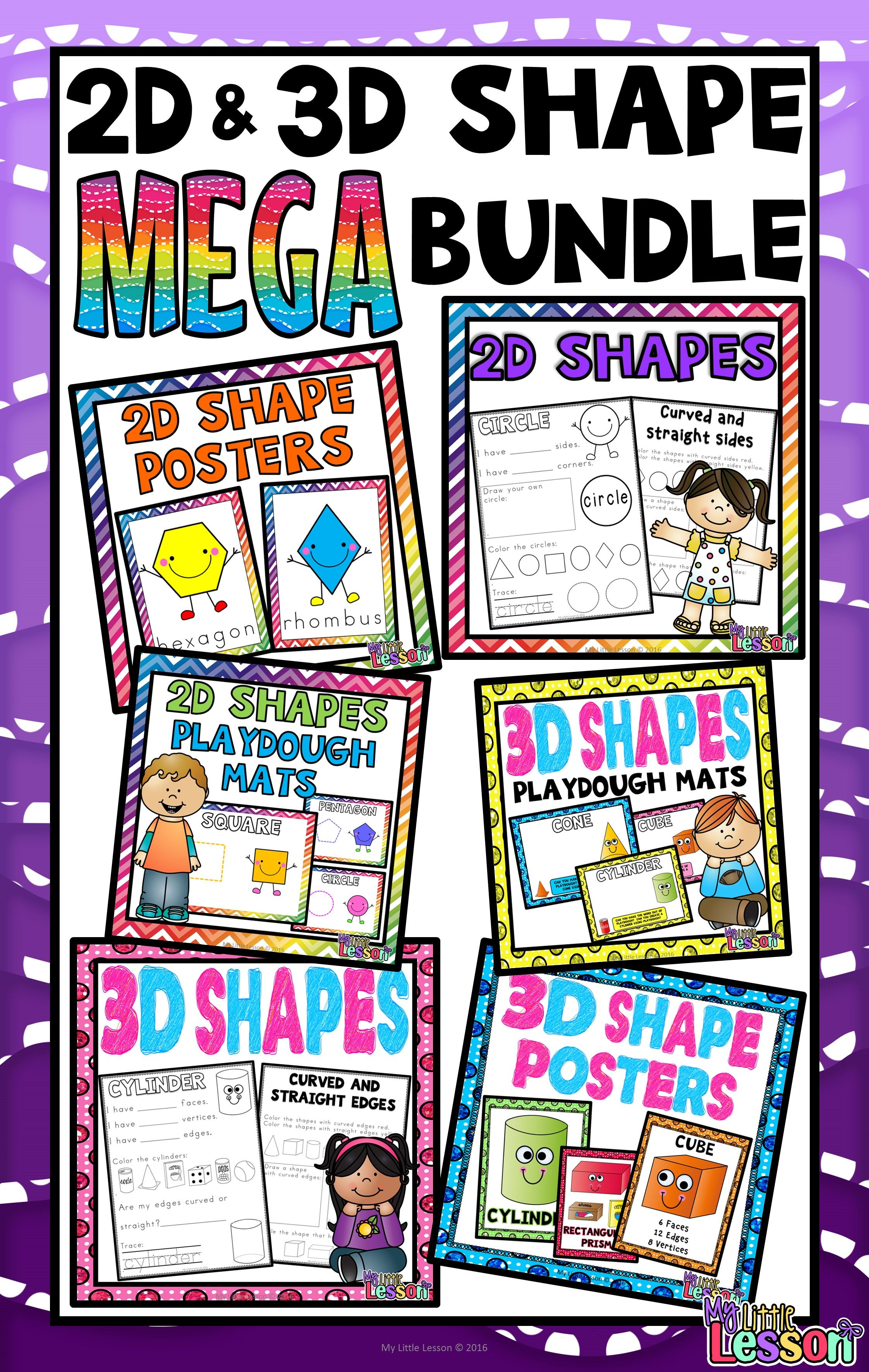 2d And 3d Shapes Mega Bundle Worksheets Posters And