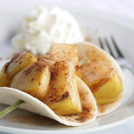 Blogger Susan Whetzel from  Doughmessti shares a recipe for Apple Pie Taco Bites. This isn't your average taco – this is Beyond Tacos! Tart apples and cinnamon combine with brown sugar to top these pint sized desserts. A side of whipped cream for dipping makes them drool worthy!
