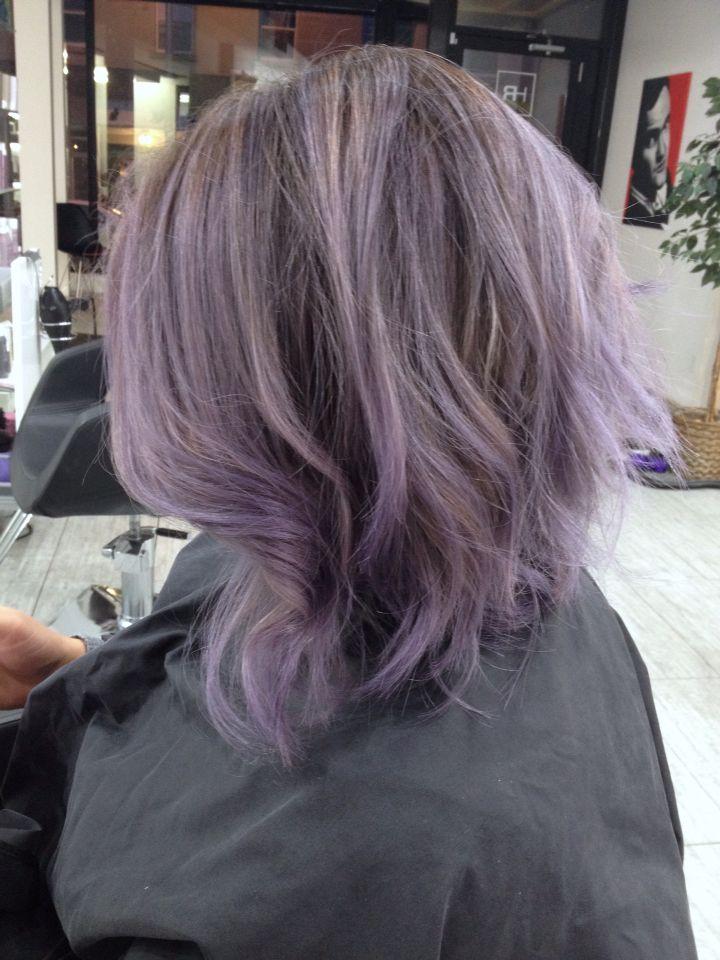 Lavender Balayage Highlights Smoky Metallic Silver