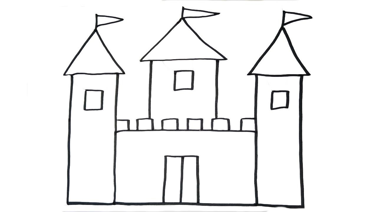 How To Draw A Castle Very Easy For Kids Castle Drawing Castle