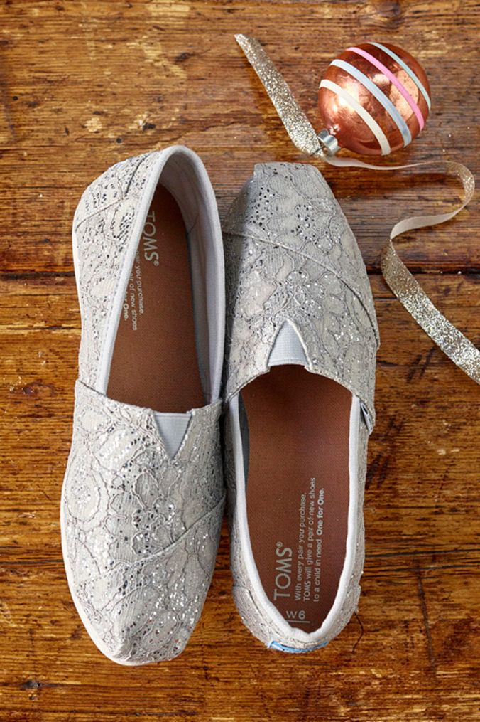 silver lace TOMS slip-ons. These shoes