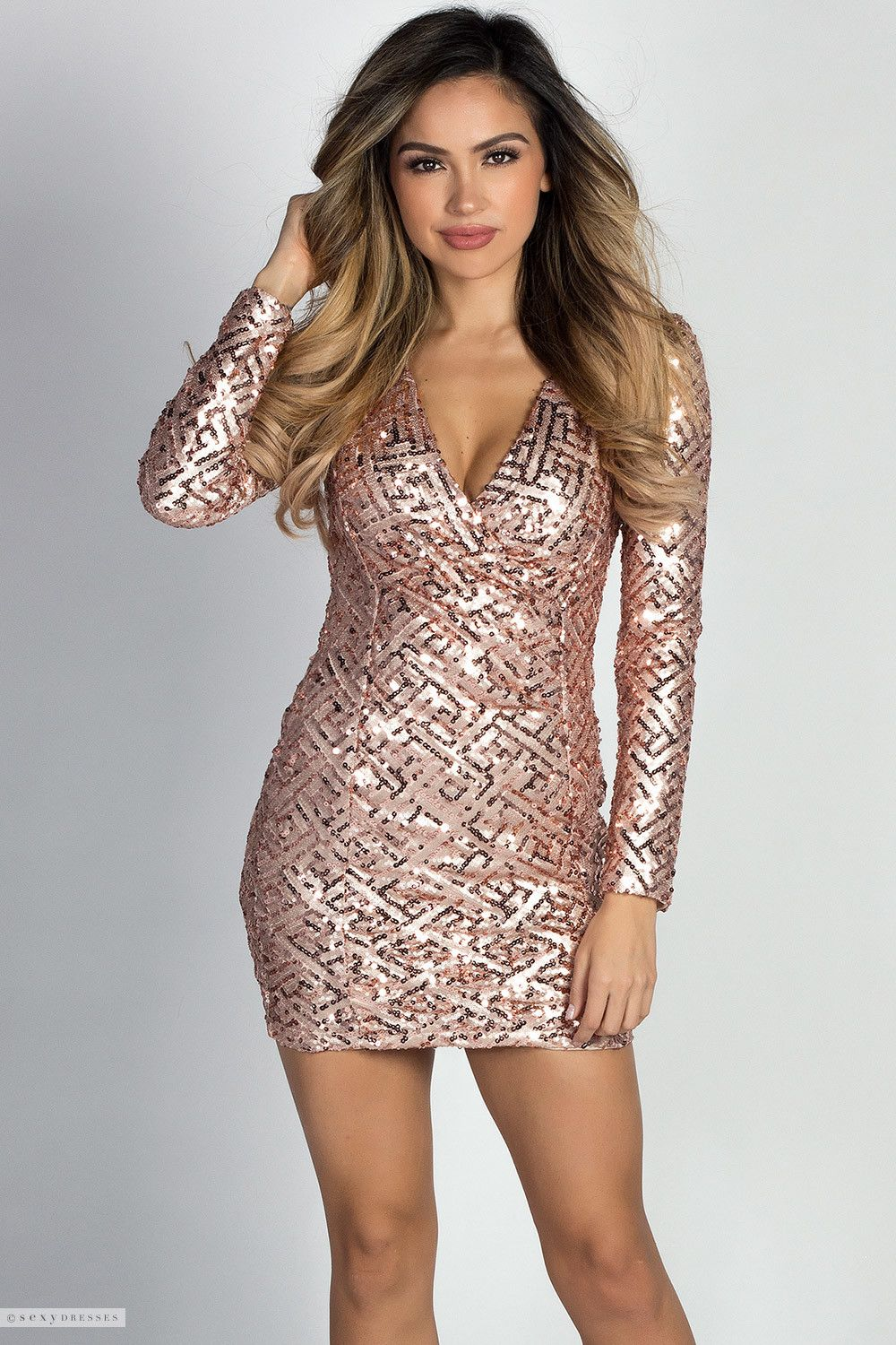 Geometric Pattern V Neck Blush Sequin Mini Dress with Sleeves ...