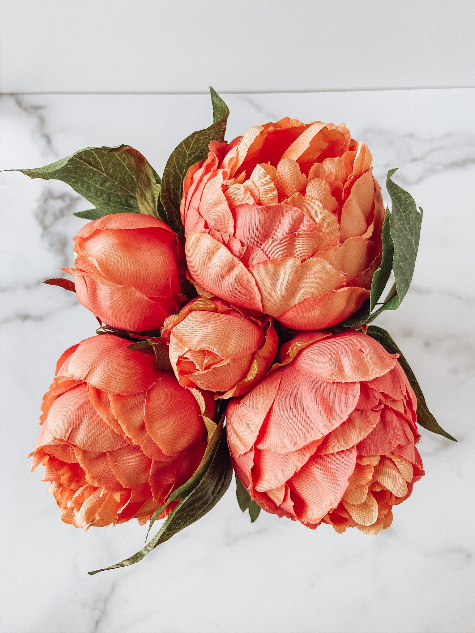 Blushing Peony Faux Bouquet (Orange)