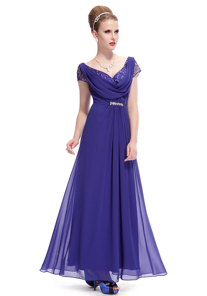 V-Neck Floor Length Blue Short Sleeve A-Line Party Dress | Prom ...