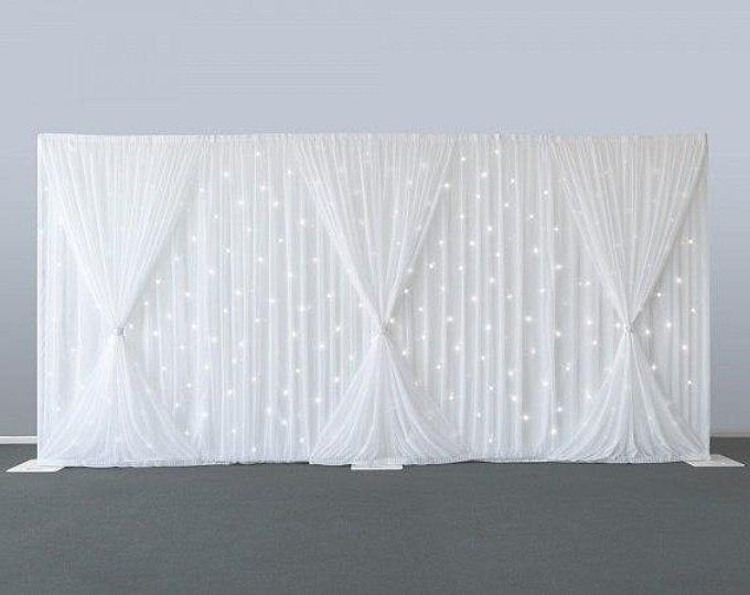 10ft x 20ft White Wedding Backdrop with Shiny Silver Swag | Etsy