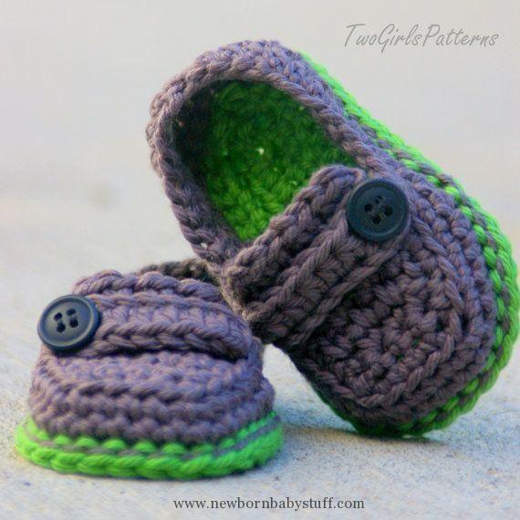 Crochet Baby Booties Crochet Pattern - Baby boy - Lil\' loafers super ...