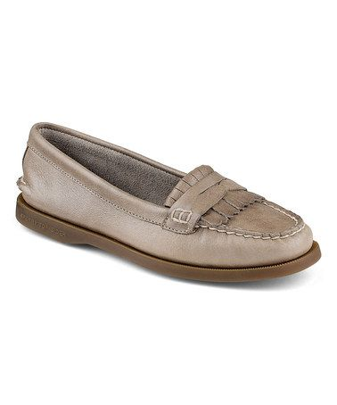 0455a268523 Look at this  zulilyfind! Light Gray Avery Leather Loafer ...