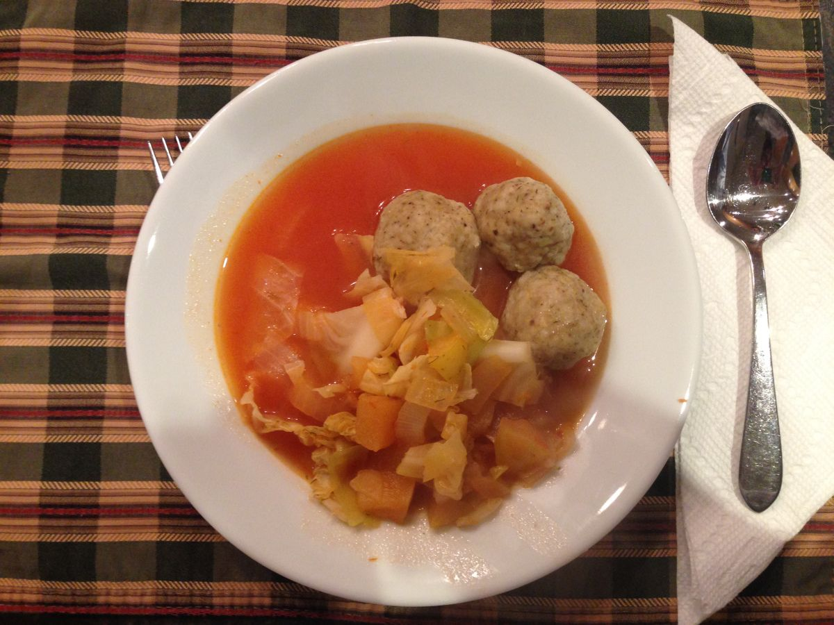 A soup with meatballs - a favorite dish from childhood