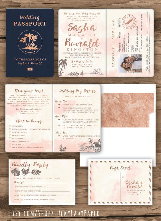 Rose Gold Watercolor Destination Wedding Pport Invitation Set By Luckyladypaper Custom Card Order