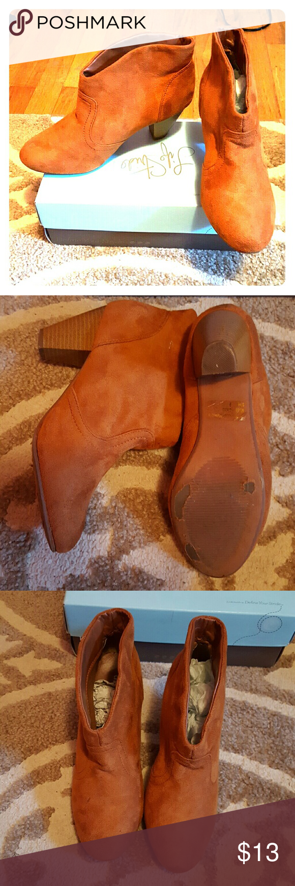 Charlotte Russe Saddle Brown Ankle Booties GUC, the felt part has no stains! Charlotte Russe Shoes Ankle Boots & Booties