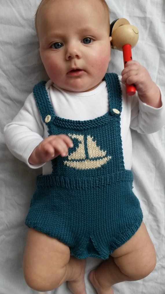 Photo of New baby gift,Baby romper, knitted baby clothes,  photo prop in teal Green Merino wool with cream sailboat motif – made to order,6-12 months