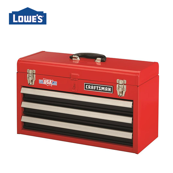 Craftsman Portable Tool Box 20 5 In 3 Drawer Red Steel Lockable Tool Box Lowes Com Portable Tool Box Portable Tools Tool Box