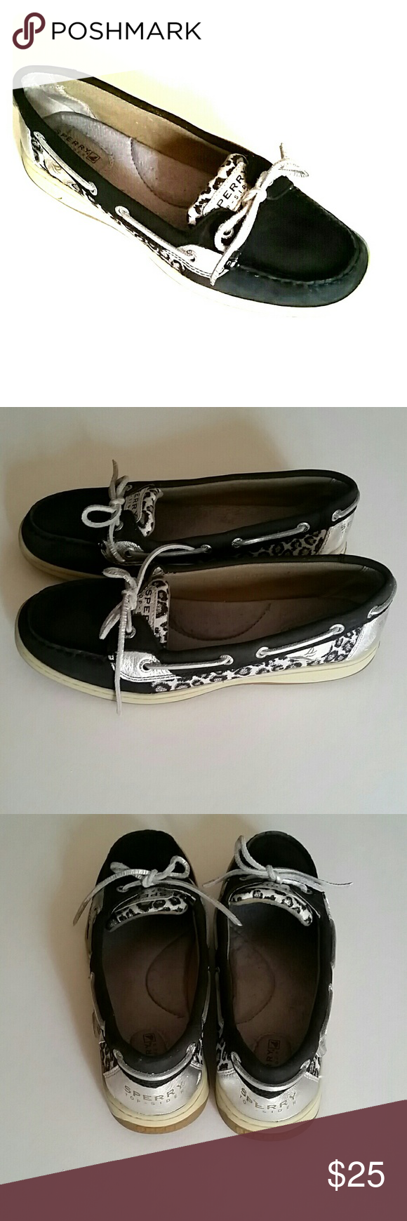 Sperry leopard print top sider Black and silver size 8.5 Sperry Top-Sider Shoes Flats & Loafers