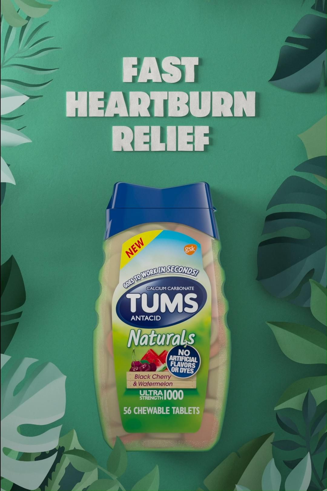TUMS Naturals. Fast heartburn relief.