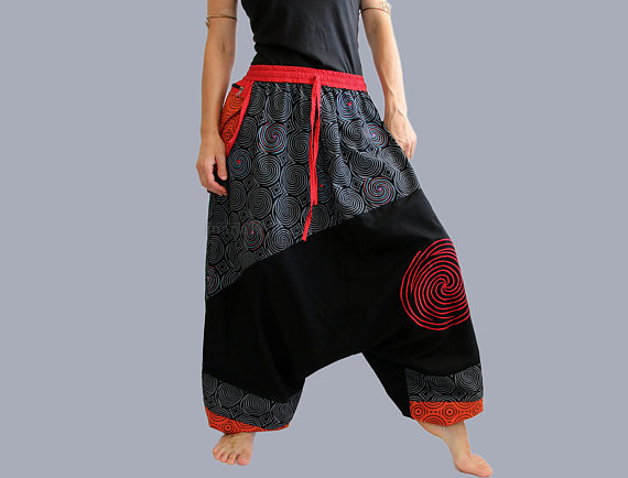 a7b624b1c42 Womens Fashion Plus Size Outfits. Afghani pants - Cotton Harem Pants - drop  crotch pants-Men - Women - Cotton - X-Long