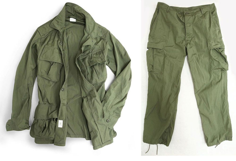 6aa90f8972289 US VIETNAM WAR 2ND GENERATION TROPICAL COMBAT UNIFORM OLIVE DRAB L-32823