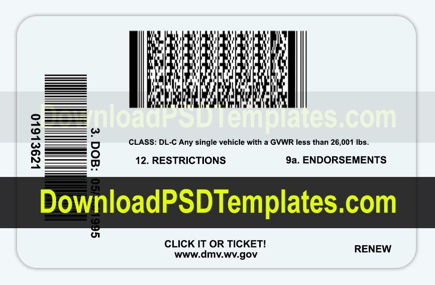 West Virginia Drivers License Psd Template West Virginia Psd