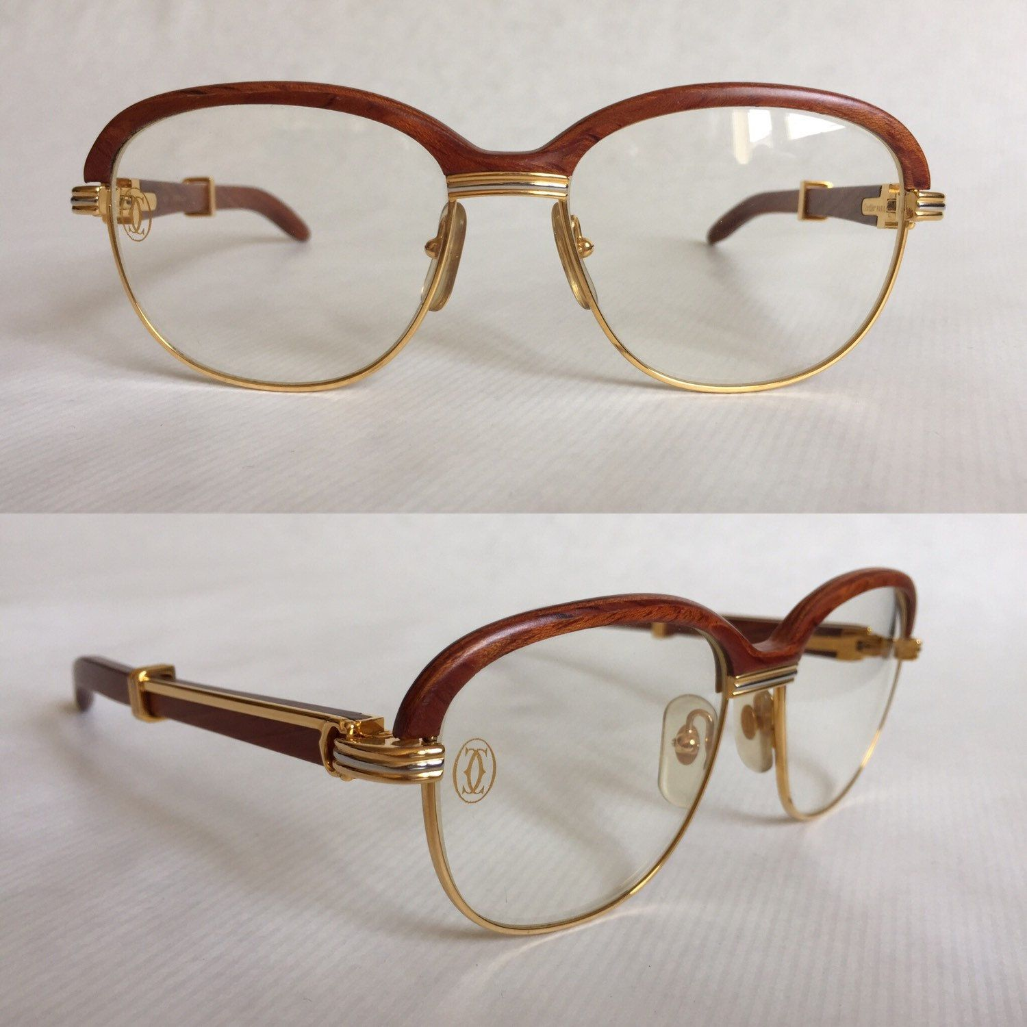 8ee9570128 Cartier Square Brushed Pale Gold Eyeglasses T8100454 Frames Authentic  France New